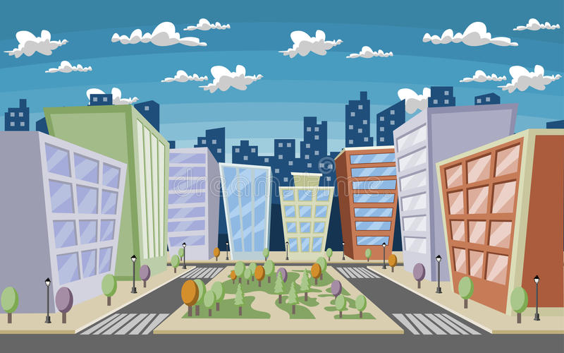 Цветастый город шаржа иллюстрация вектора