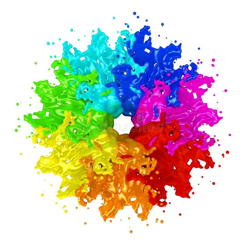 Цветастый изолированный брызгать краски на белизне иллюстрация штока