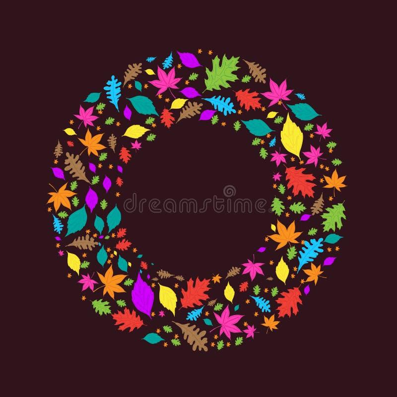 Цветастый круг листьев осени иллюстрация вектора