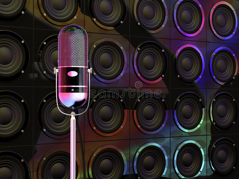 цветастый микрофон светов вниз иллюстрация штока
