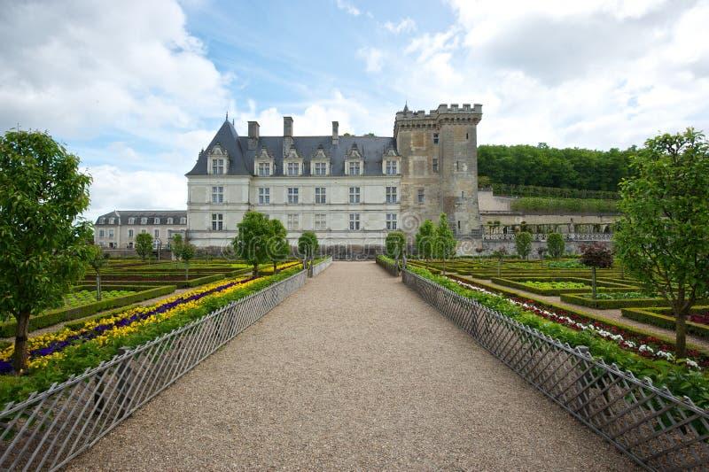 Цветастый сад на французском замке стоковая фотография rf