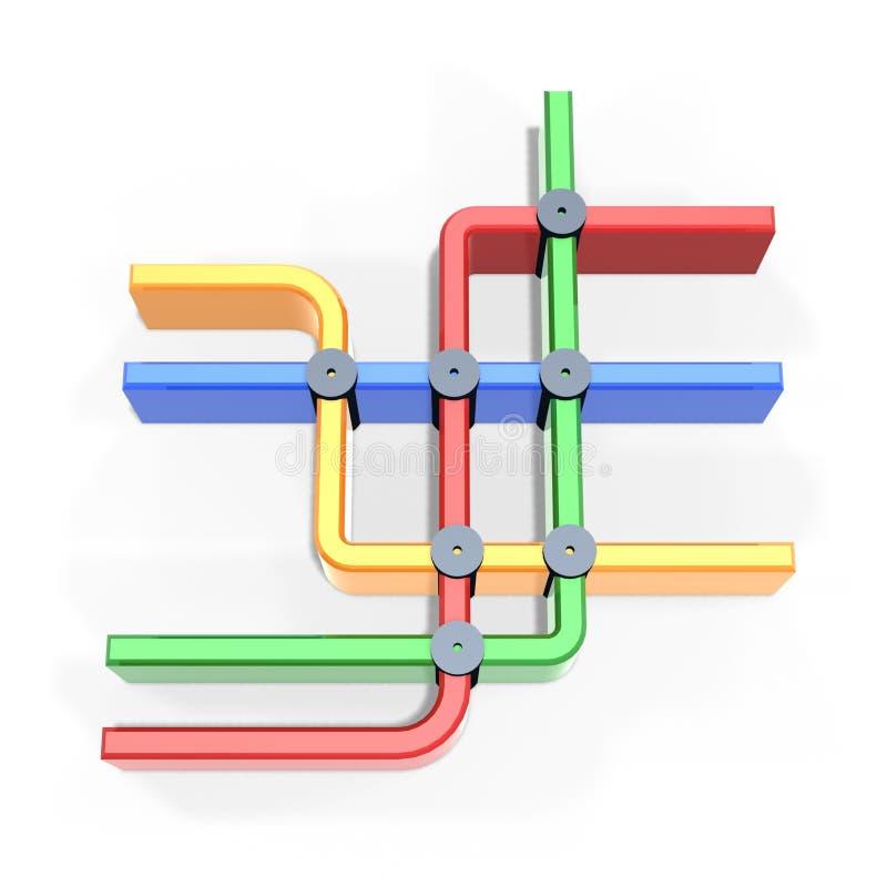 цветастый символ метро карты иллюстрация штока