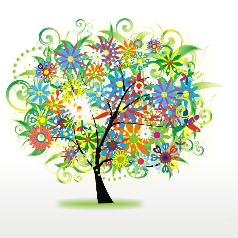 цветастый флористический вал иллюстрация вектора