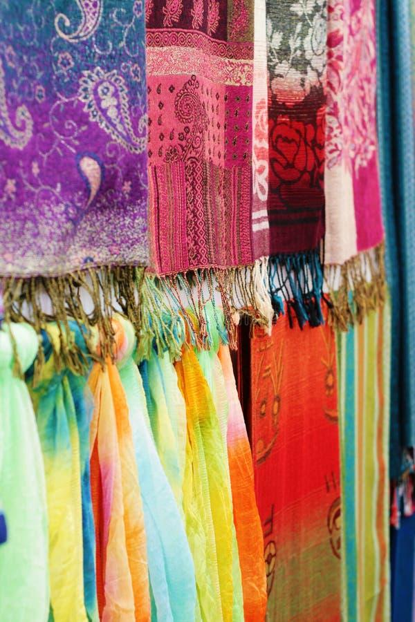 цветастый шелк шарфа ткани стоковое изображение