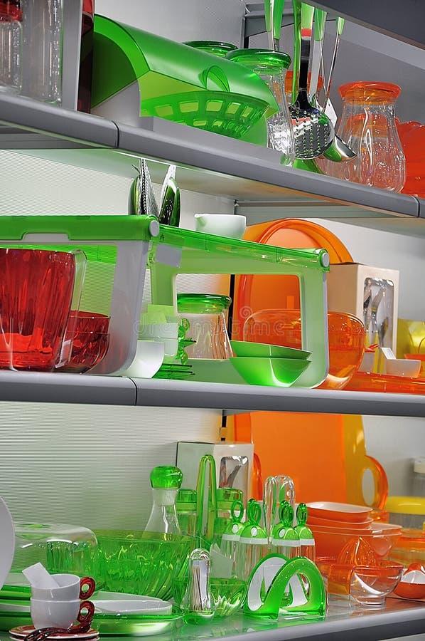 Цветастый kitchenware стоковое изображение