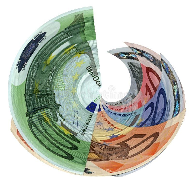 цветастым изолированное евро богатство торнадоа сбережений иллюстрация вектора
