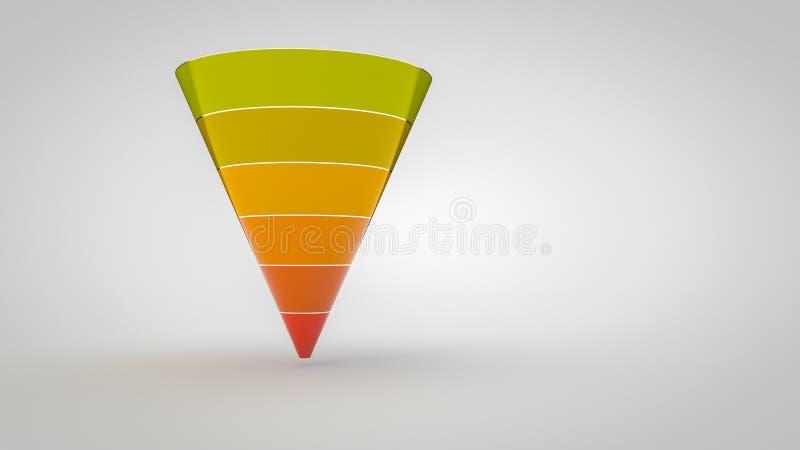 Цвета воронки Marketing-6 преобразования Шаг-теплые Лоснист-простые иллюстрация вектора