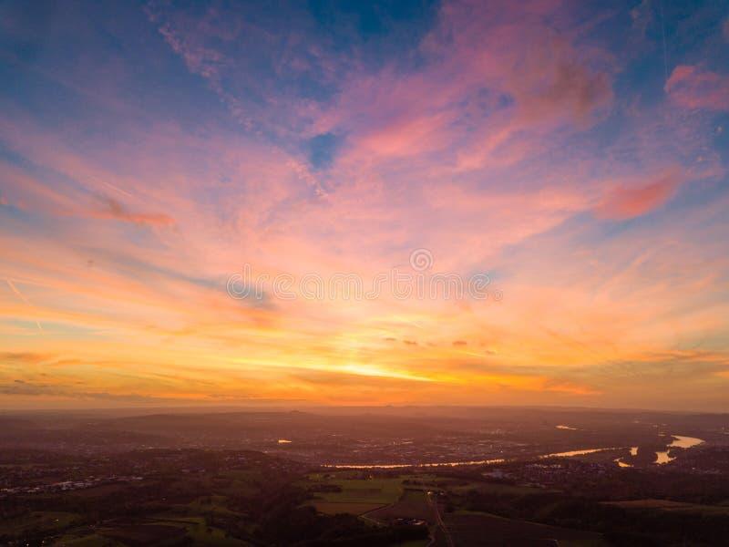 Цвета захода солнца Германии природы трутня стоковая фотография rf