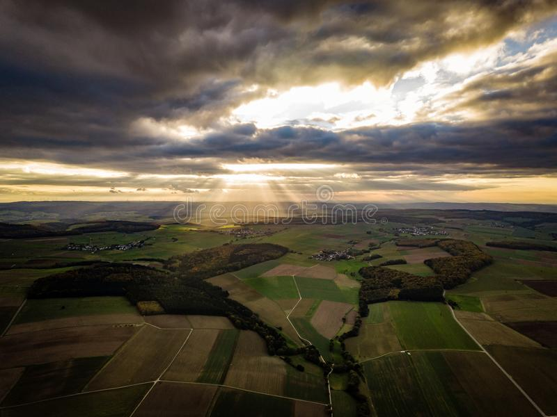Цвета захода солнца Германии природы трутня стоковое фото rf