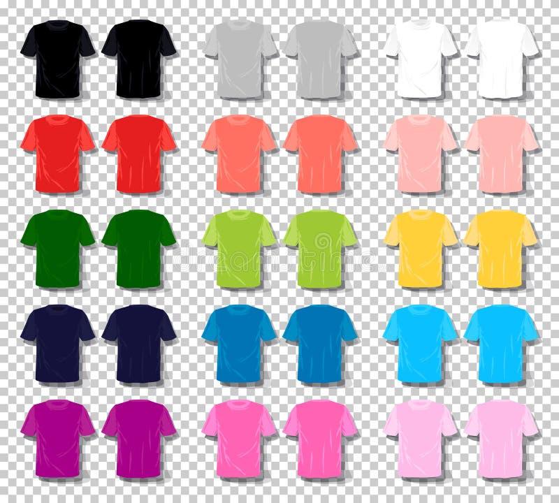 Цвета мультфильма вектора футболки людей футболка установленного unisex Основное multi собрание вектора цвета E бесплатная иллюстрация