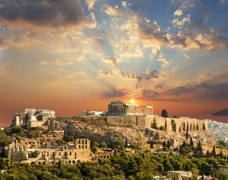 Цвета осени захода солнца Афин Греции Парфенона стоковое фото rf