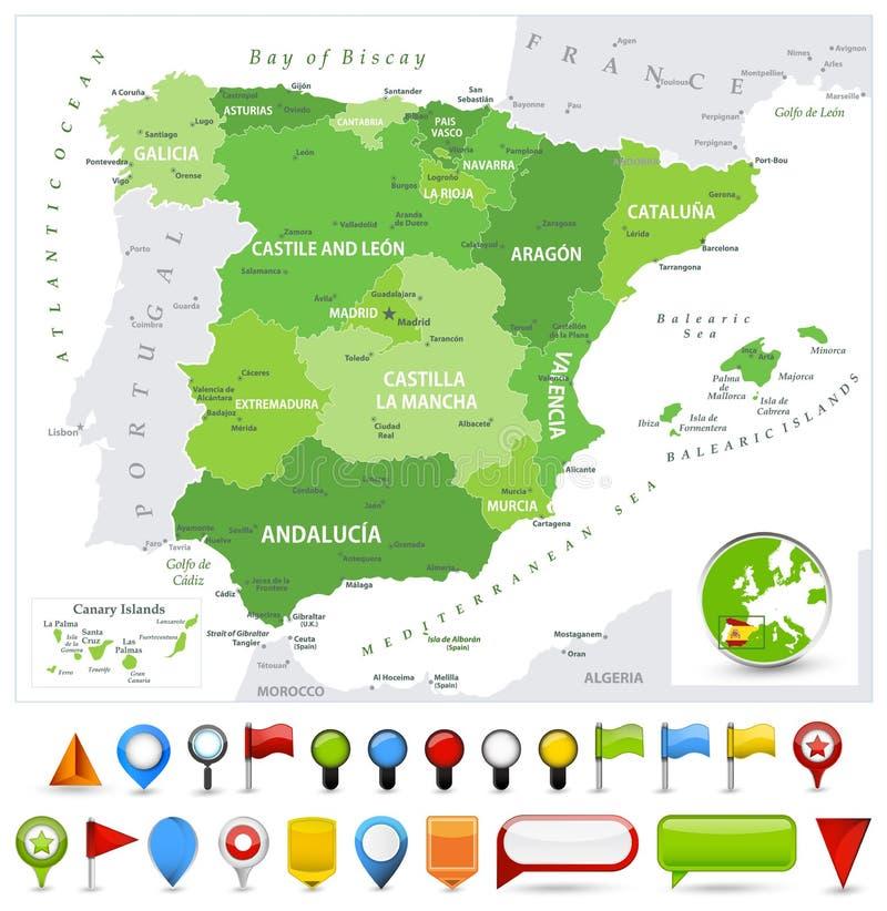 Цвета пятна карты Испании зеленые и лоснистые значки иллюстрация штока