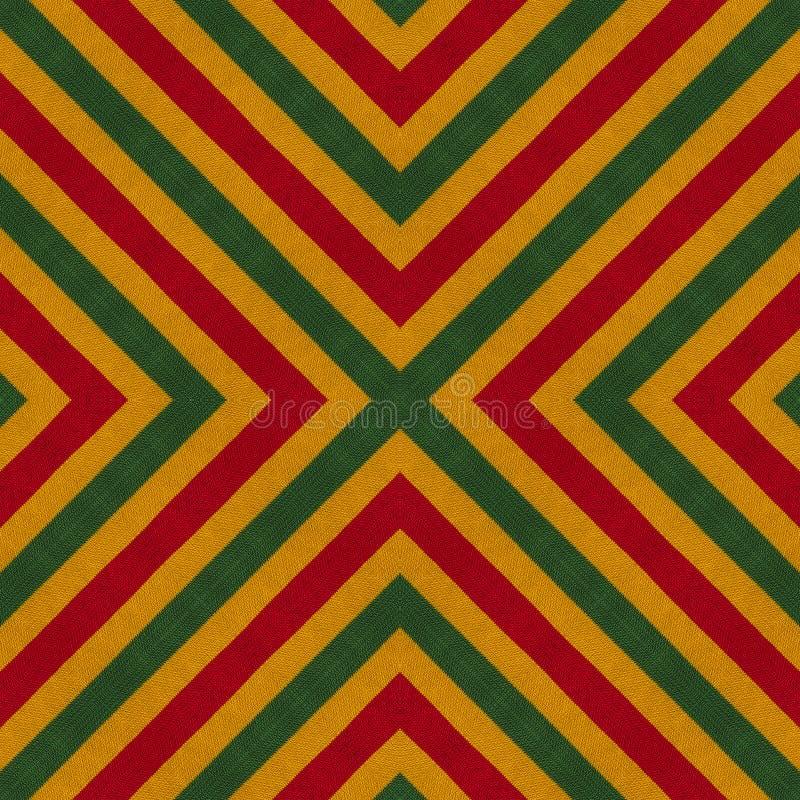 Цвета регги вяжут связанную предпосылку крючком стиля, взгляд сверху Коллаж с отражением зеркала с косоугольником Безшовное monta иллюстрация вектора