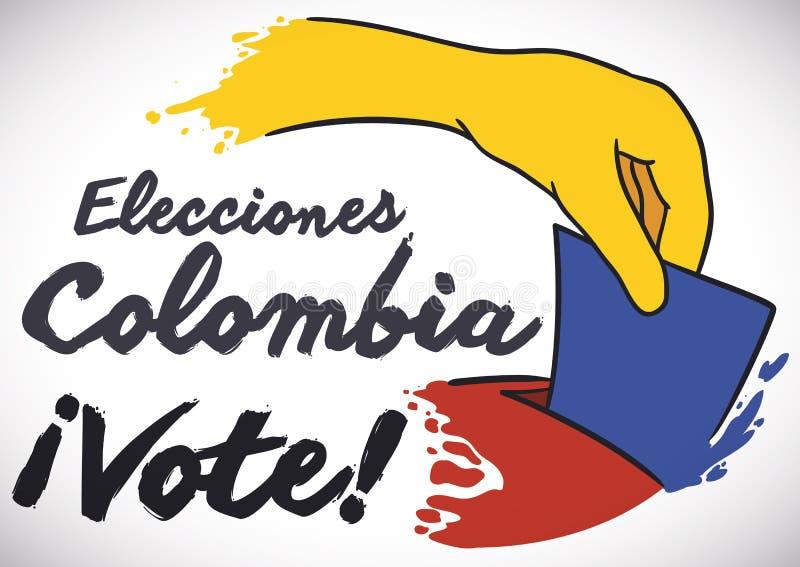 Цвета флага Колумбии в руке ` s избирателя и урне для избраний, иллюстрации вектора иллюстрация вектора