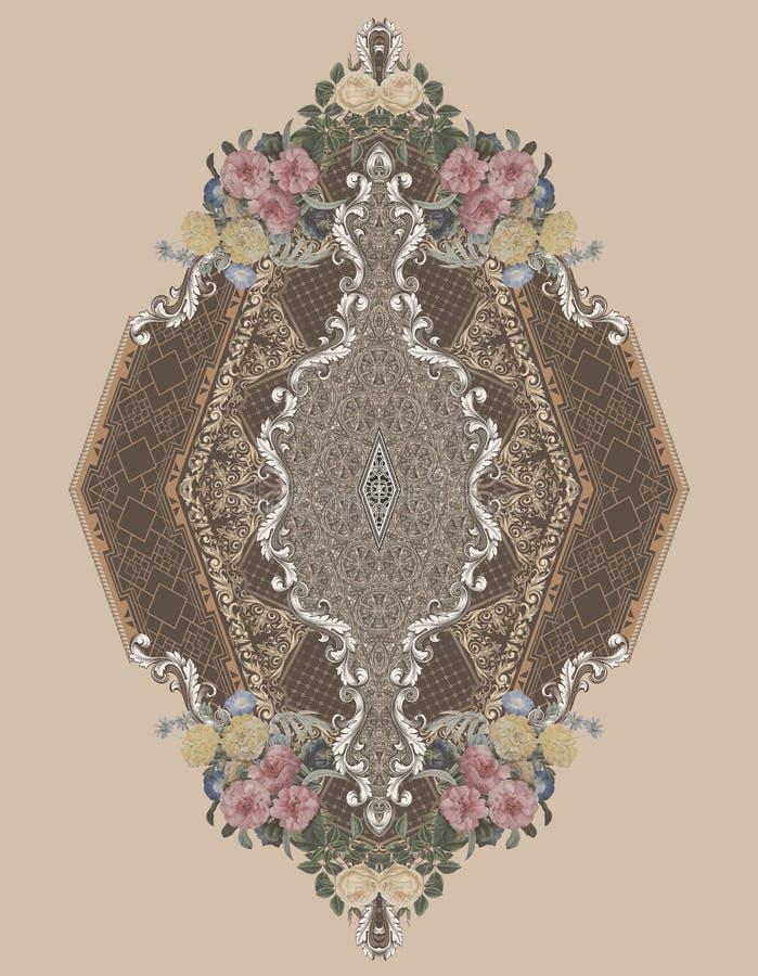 Цвета цветков золота украшений барочные конструируют иллюстрация вектора
