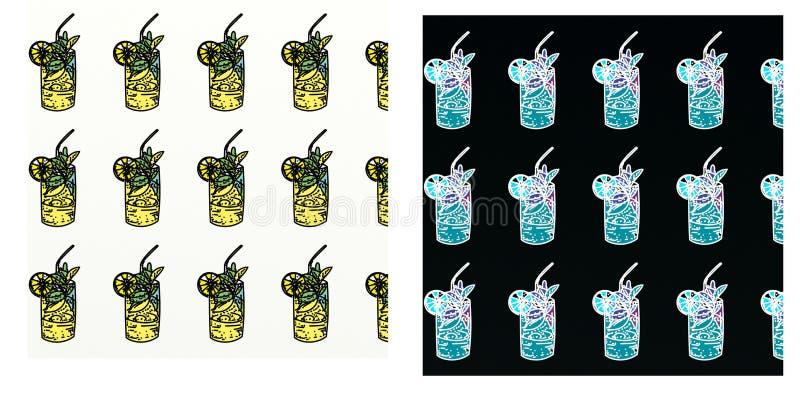 Цвета Lic, с повторенным мотивом, с вычерченным, комплект watermelonA, состава искусства шипучки Коктеиль иллюстрация штока