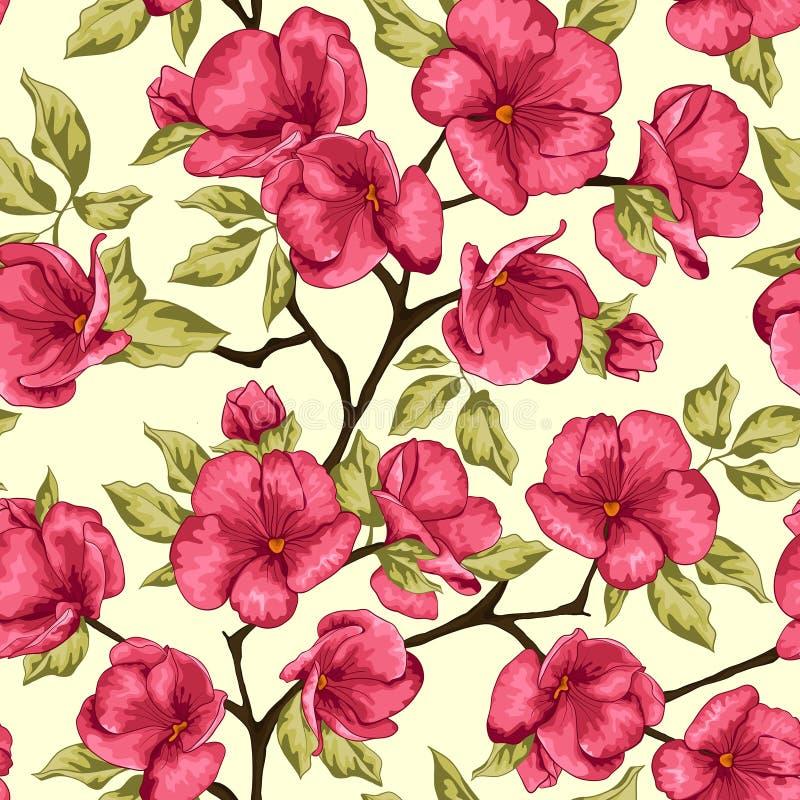 Цветение вишни Цветки Sakura вектор детального чертежа предпосылки флористический Разветвите с p бесплатная иллюстрация