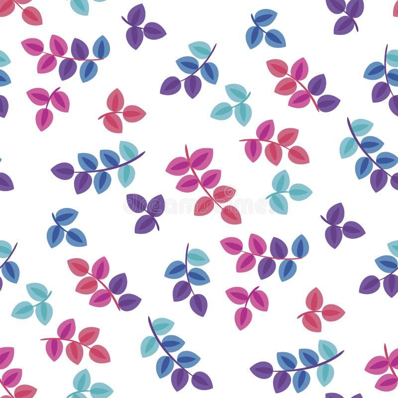 Цветение, листьев картина вектора плоско безшовная бесплатная иллюстрация