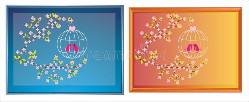 цветение птиц обрамляет изображение бесплатная иллюстрация