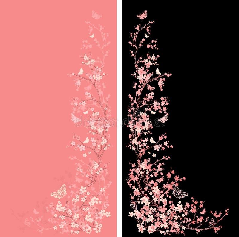 Цветение Сакуры и оформление космоса экземпляра вектора бабочек иллюстрация вектора