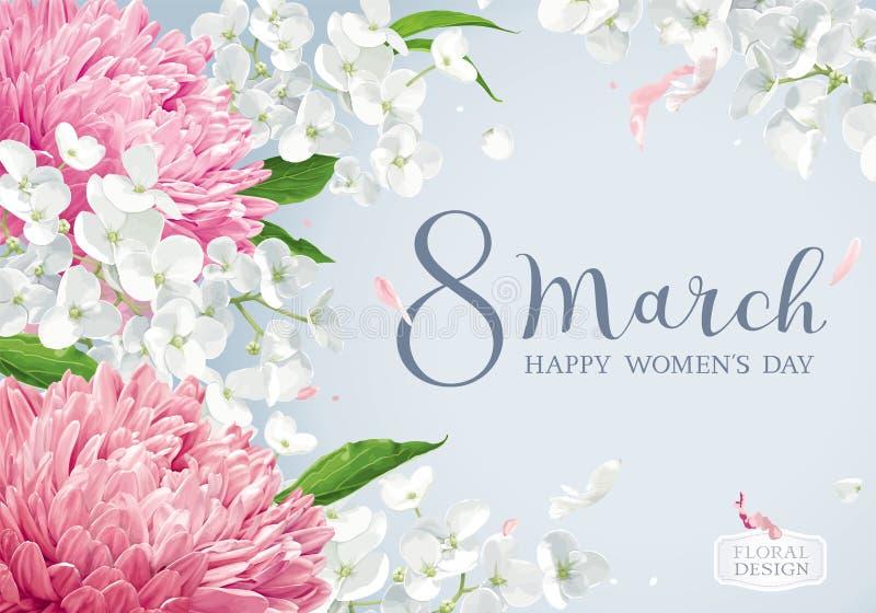 Цветение хризантем и Яблока на 8-ое марта vector автомобиль приветствию бесплатная иллюстрация