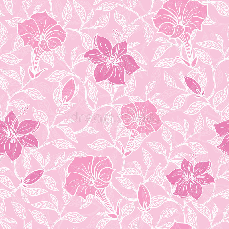Цветений lineart вектора картина мягких розовых безшовная иллюстрация штока