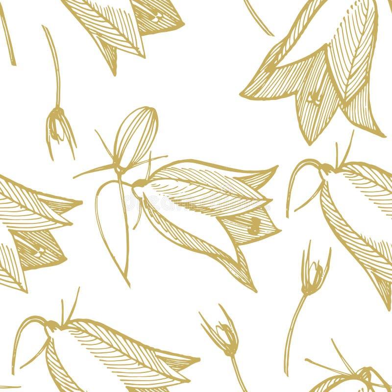 Цветения колокольчика, листья и набор букетов Естественное лето, monochrome заводов луга весны Флористическое естественное бесплатная иллюстрация