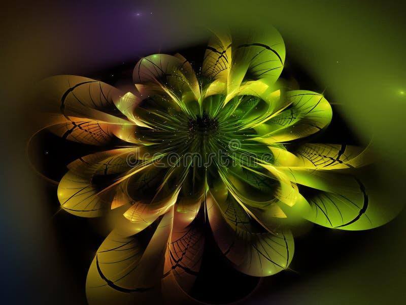 Цветения обоев влияния фантазии украшения концепции цвета фантазии цветка фрактали динамическое абстрактного красивого темного ун иллюстрация вектора