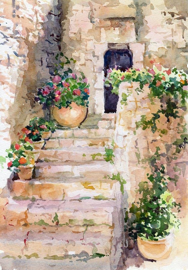 Цветет акварель. иллюстрация штока