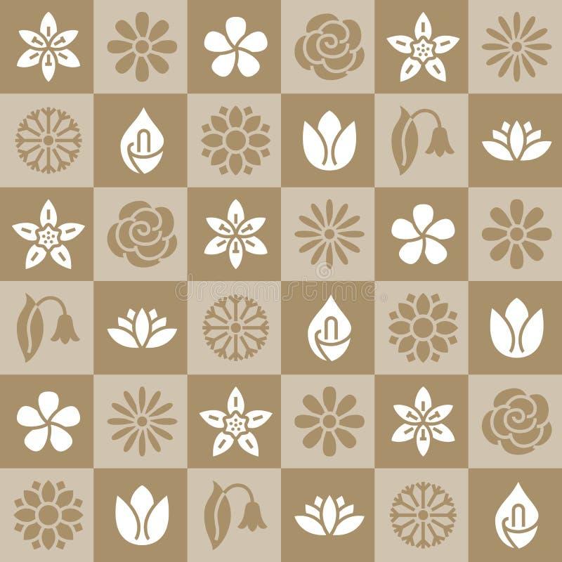 Цветет безшовная картина с плоскими значками глифа Заводы сада стоцвет флористической предпосылки красивые, солнцецвет, подняли иллюстрация штока