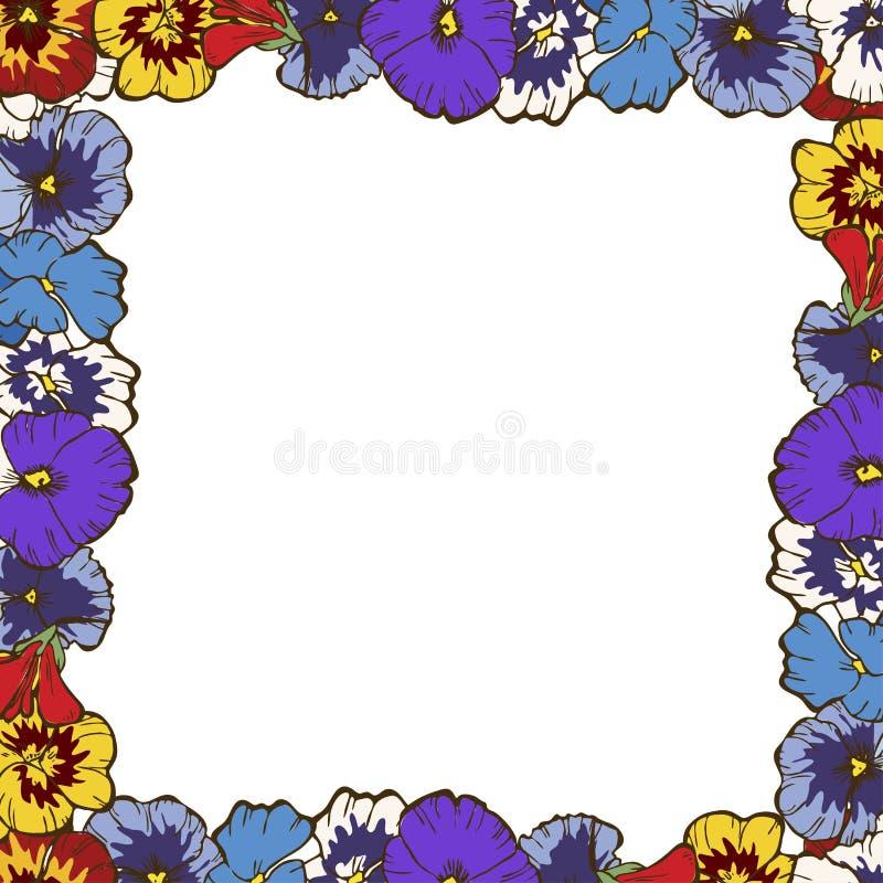 цветет иллюстрация рамки фрактали Красивая рамка красочных pansies Готовый шаблон для вашего дизайна, иллюстрация вектора иллюстрация штока