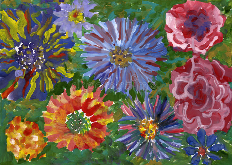 Цветет картина gouache иллюстрация штока