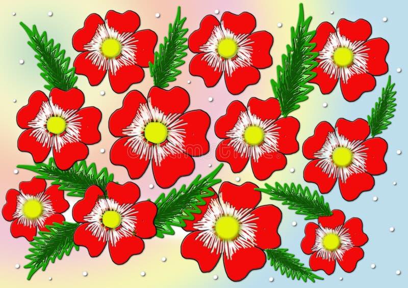 цветет красный цвет Предпосылка вектора стоковая фотография