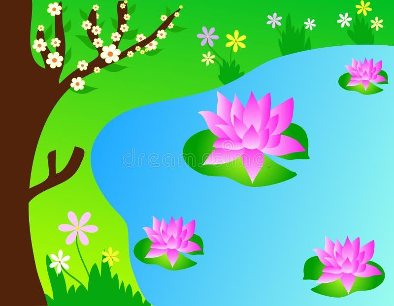 цветет лотос иллюстрация вектора