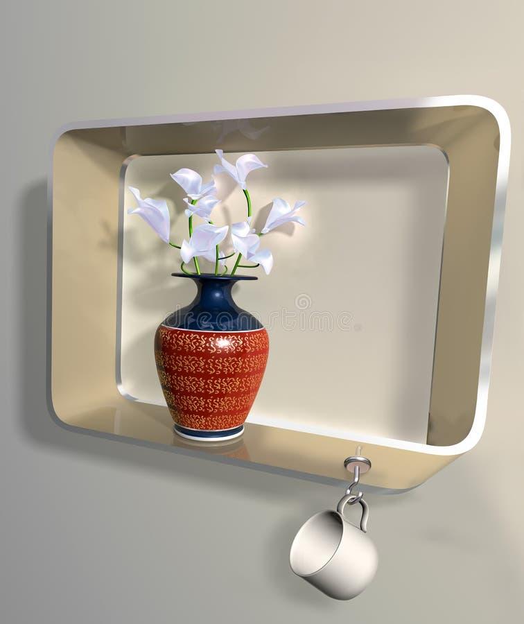 цветет невозможная ваза полки бесплатная иллюстрация