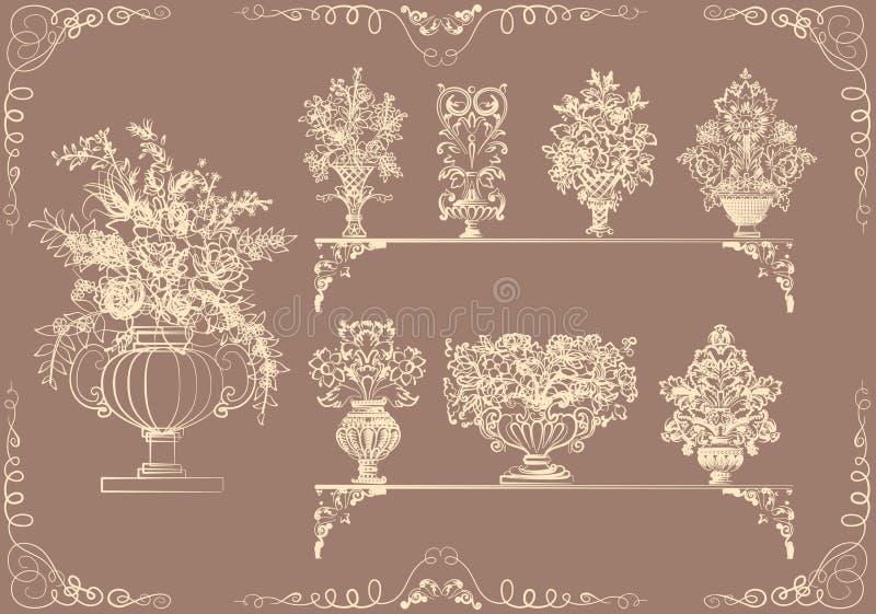 цветет ретро вазы типа комплекта иллюстрация штока