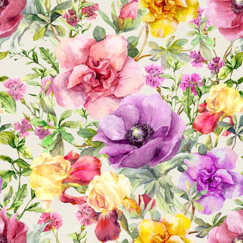цветет лужок флористическая картина безшовная акварель бесплатная иллюстрация