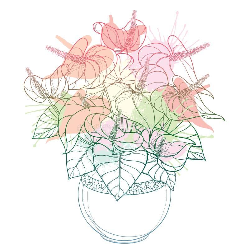 Цветка антуриума или Anturium плана вектора пук и листья тропического в круглом изолированном цветочном горшке в пастельное розов иллюстрация вектора