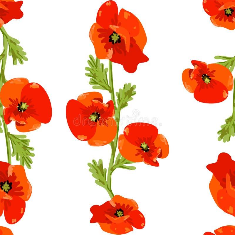 Цветка мака весеннего времени вектор eps 10 предпосылки картины красного безшовный иллюстрация штока