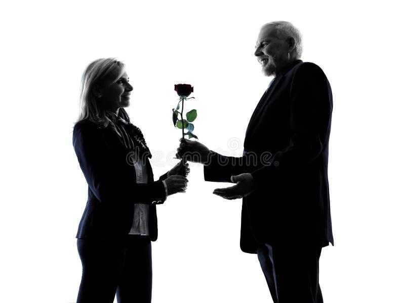 Цветка любовников пар силуэт старшего розовый стоковые фото