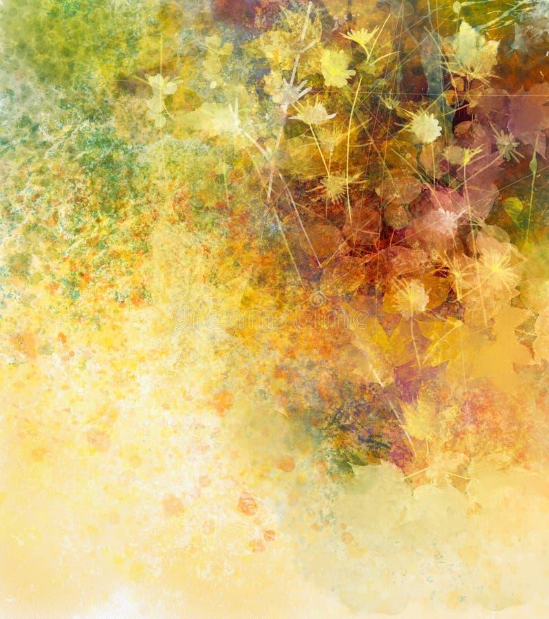 Цветки абстрактной акварели крася белые и мягкие листья цвета иллюстрация вектора