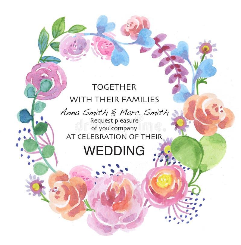 Цветки акварели в винтажном стиле, приглашении свадьбы, иллюстрация вектора
