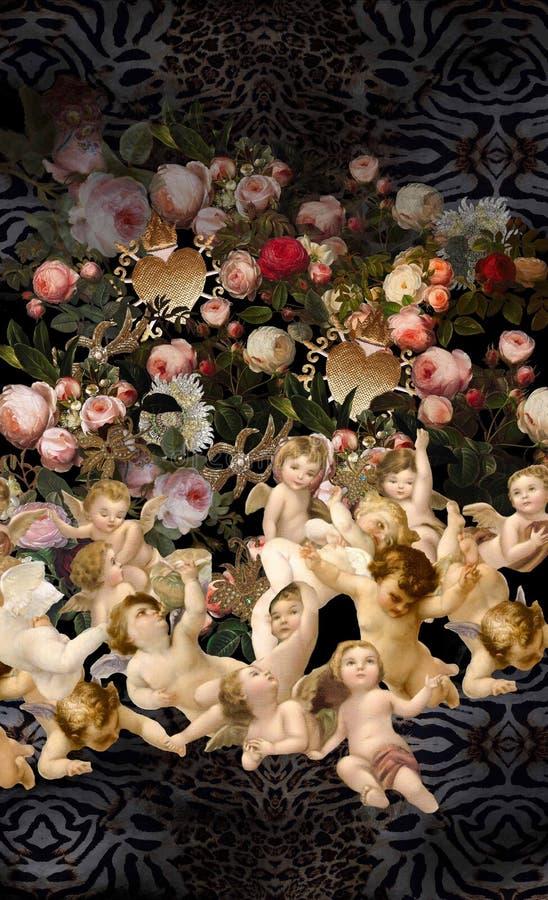 Цветки ангелов романтичные садовничают животная печать стоковая фотография