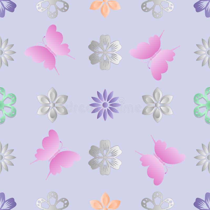 цветки бабочек предпосылки безшовные иллюстрация штока