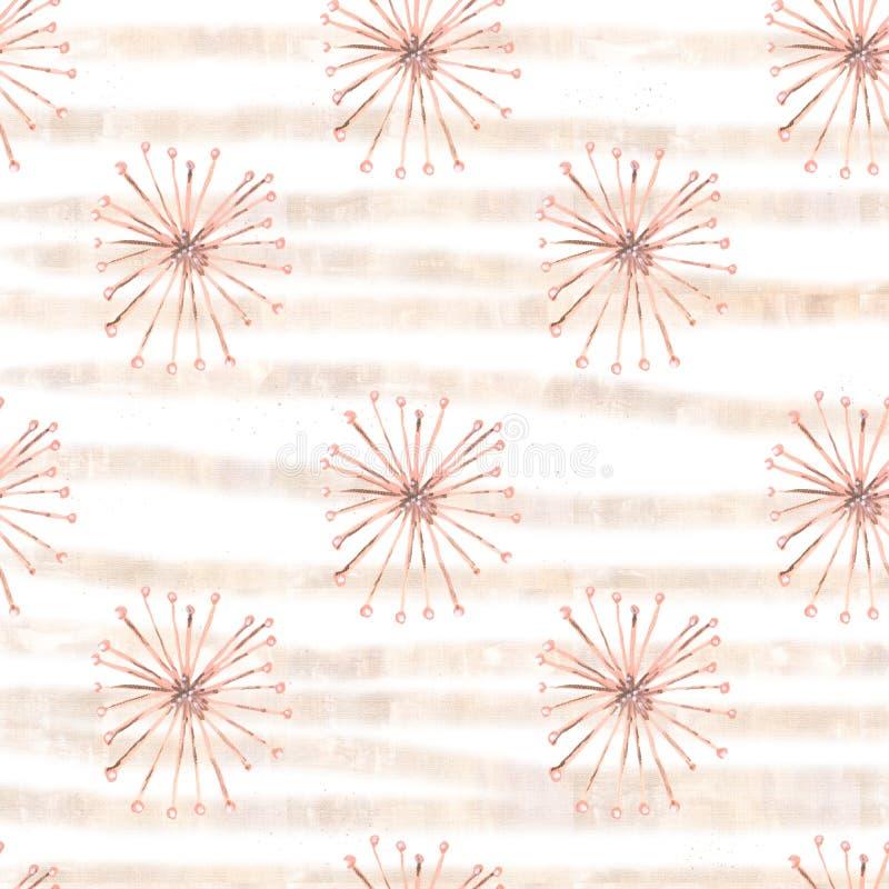 Цветки безшовной гуаши картины сюрреалистические бежевые с нашивками бесплатная иллюстрация