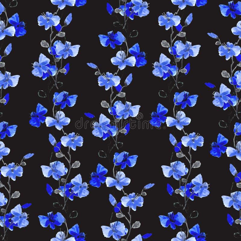 Цветки безшовной картины небольшие дикие голубые и вертикальные ветви на черной предпосылке r иллюстрация штока