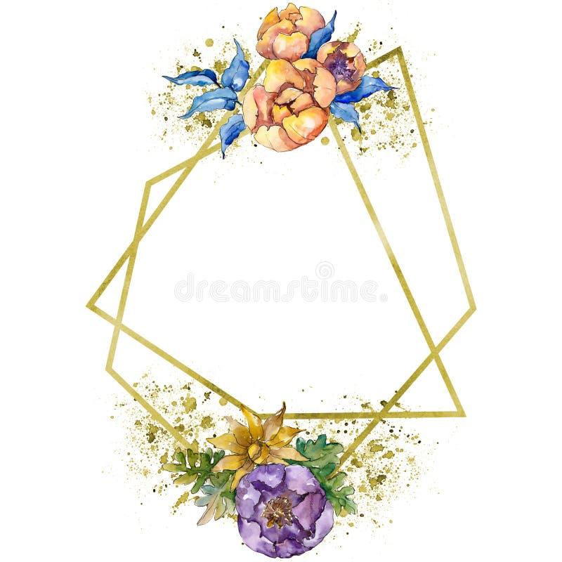 Цветки букета акварели красочные Флористический ботанический цветок Изолированный элемент иллюстрации иллюстрация штока