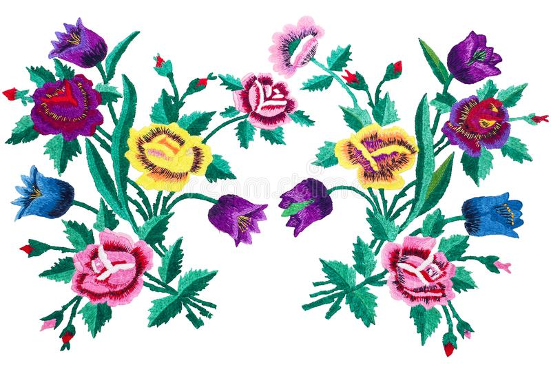 Цветки букета вышивки изолированные на белых предпосылке, розах и колоколах бесплатная иллюстрация