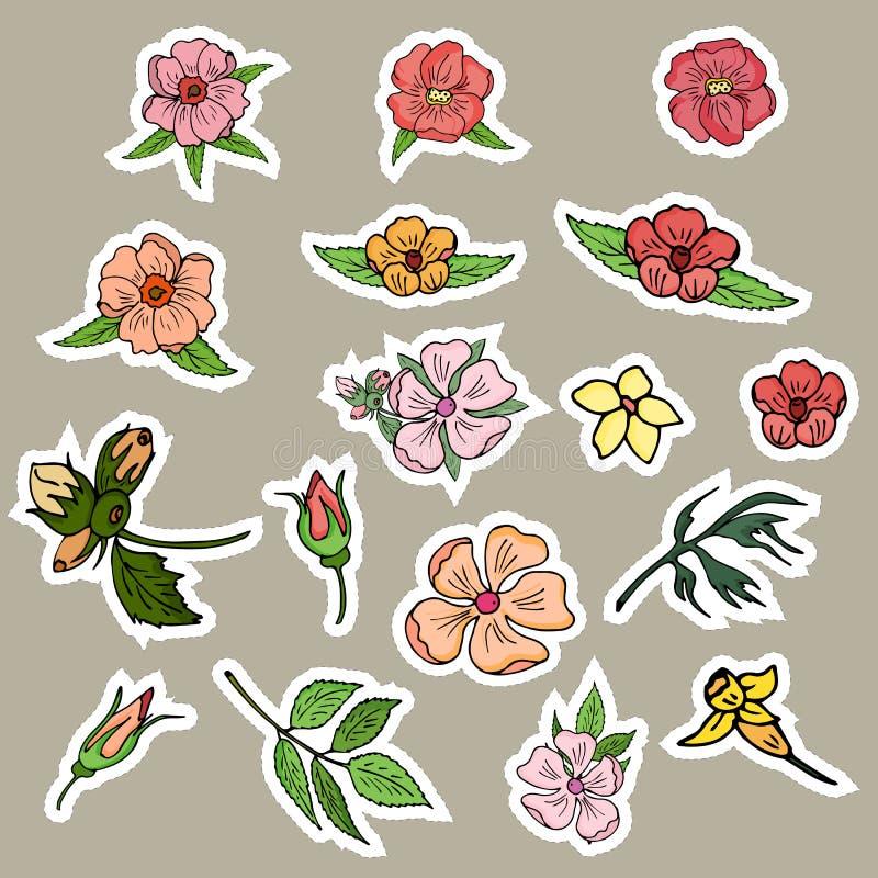Цветки, бутоны и листья стикеров индивидуальных элементов r иллюстрация вектора