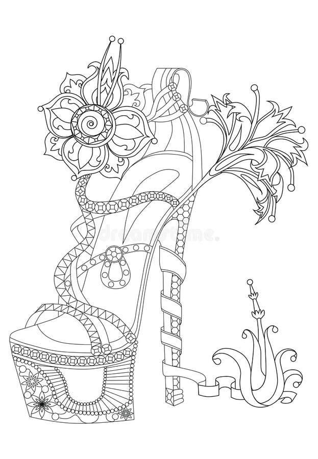 Цветки ведьмы ботинка Книжка-раскраска для взрослых Стандартное изображение для футболки или татуировки иллюстрация штока